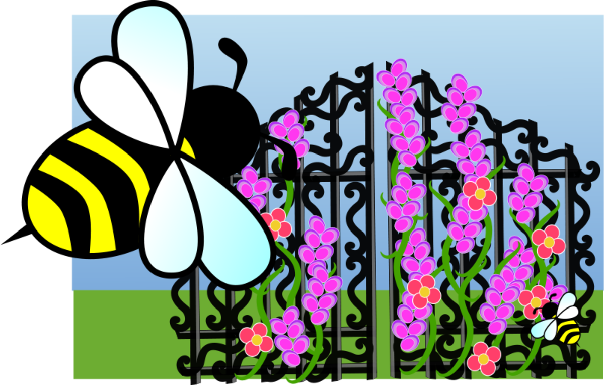 Bees and Flowers on Trellis