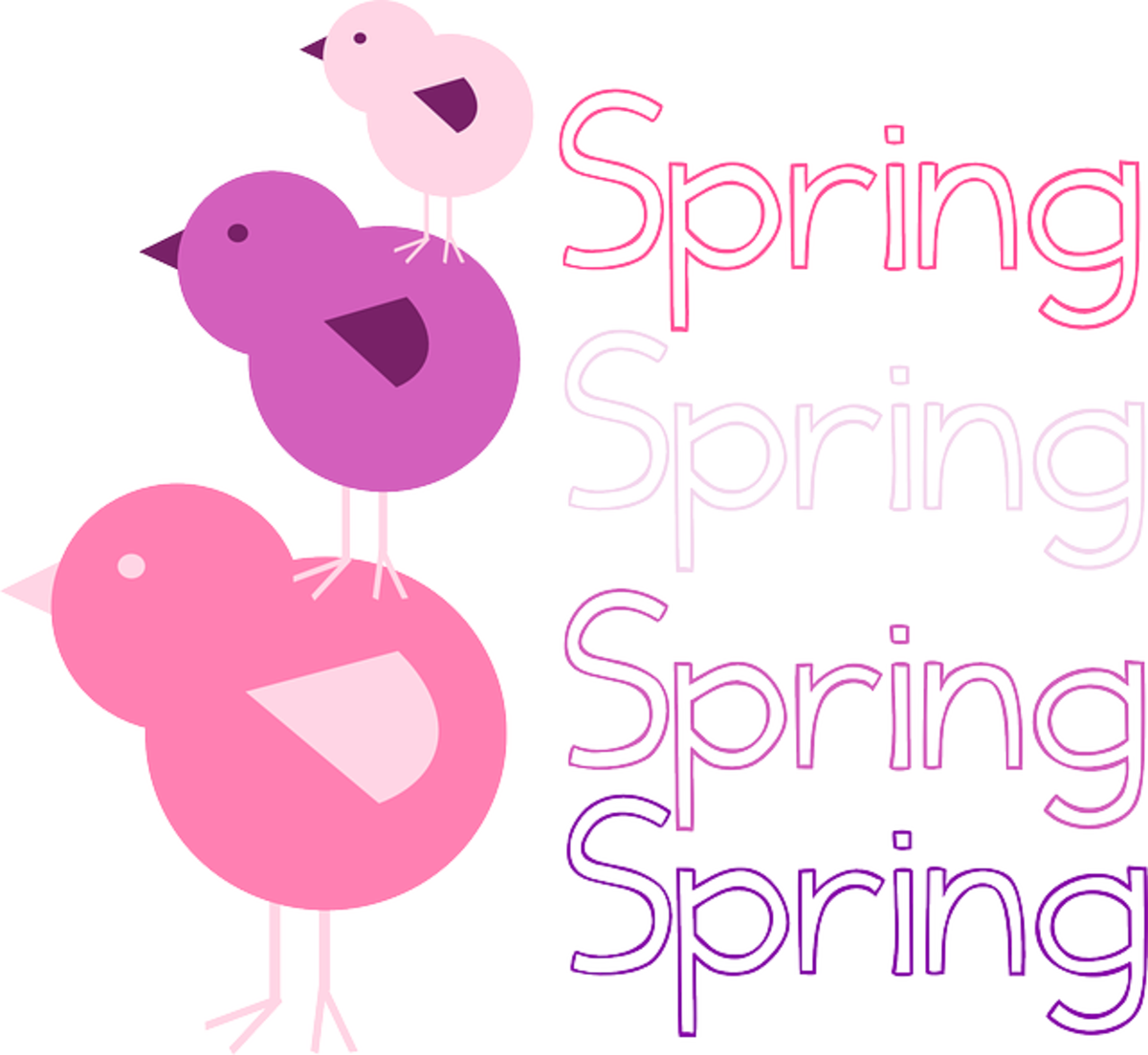 Spring with Pink and Purple Chicks
