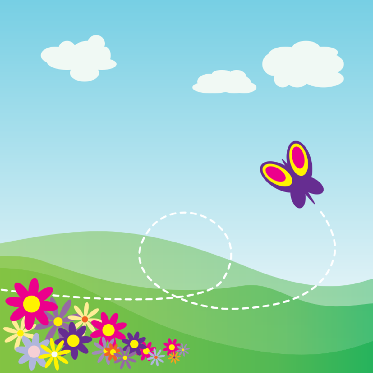 Flying Butterfly and Flowers