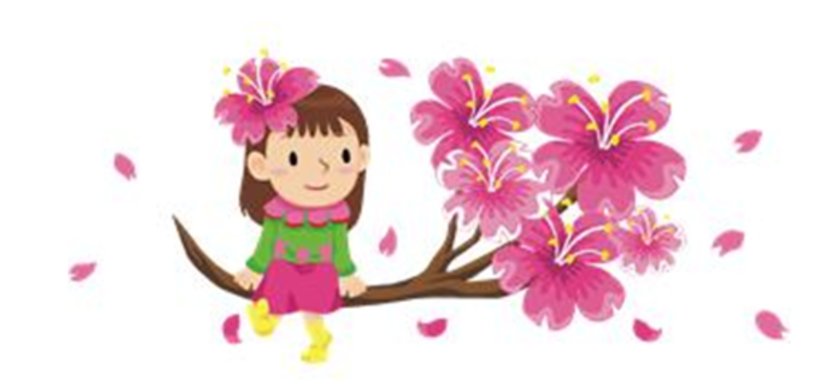 Girl on Blossoming Cherry Tree Branch