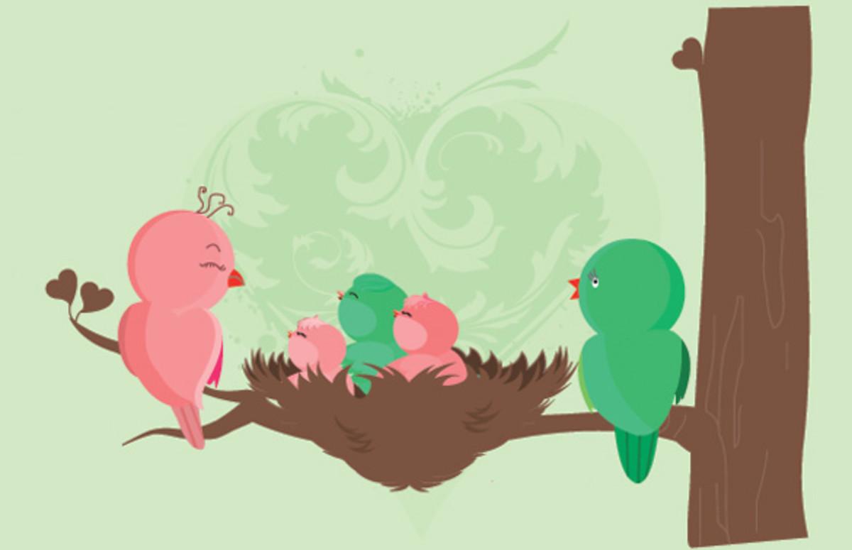 Bird Couple with Nest of Baby Birds