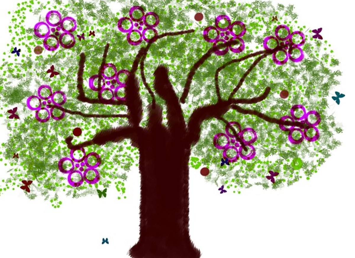 Spring Tree with Purple Blossoms