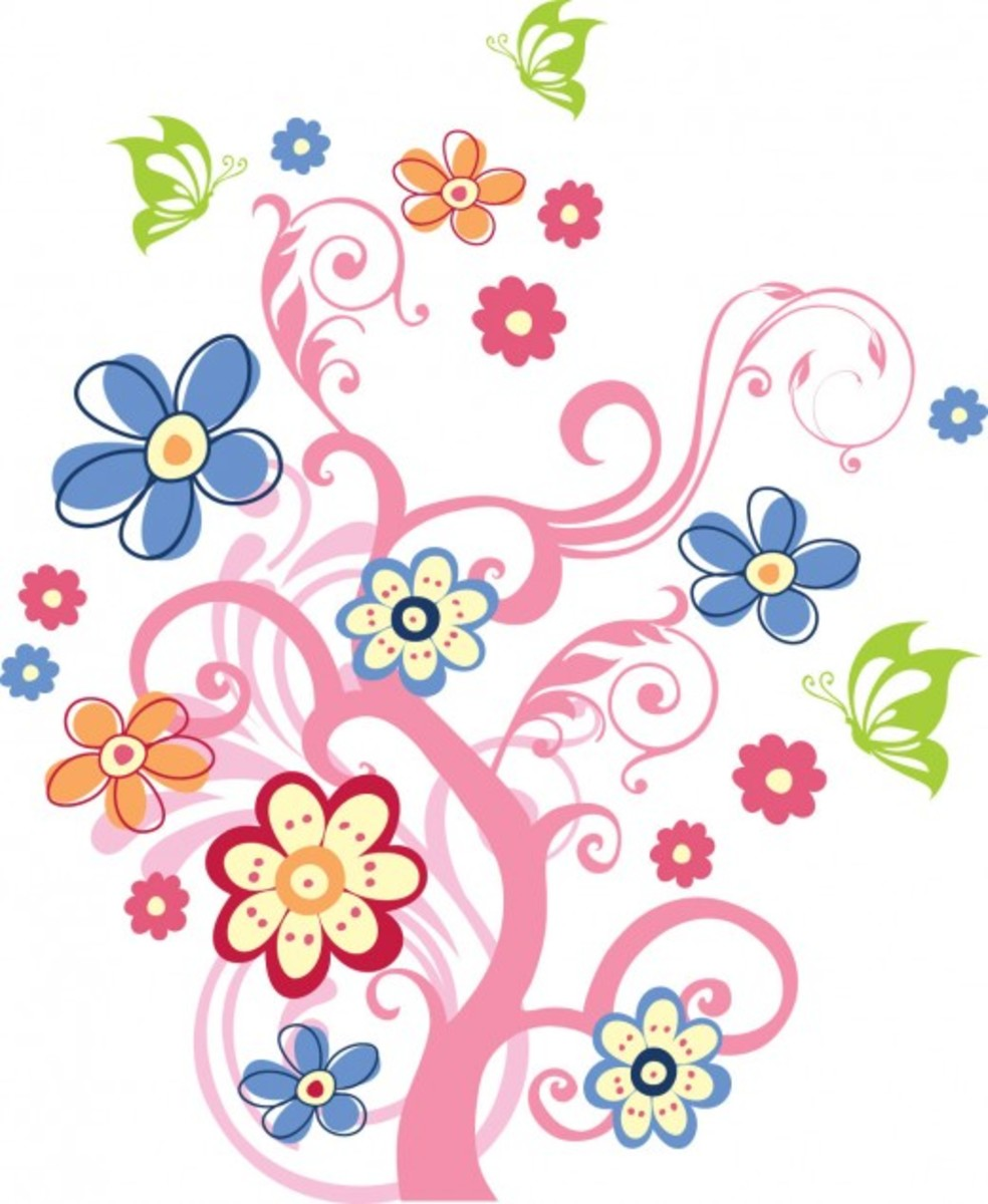 Spring Tree with Blossoms and Butterflies