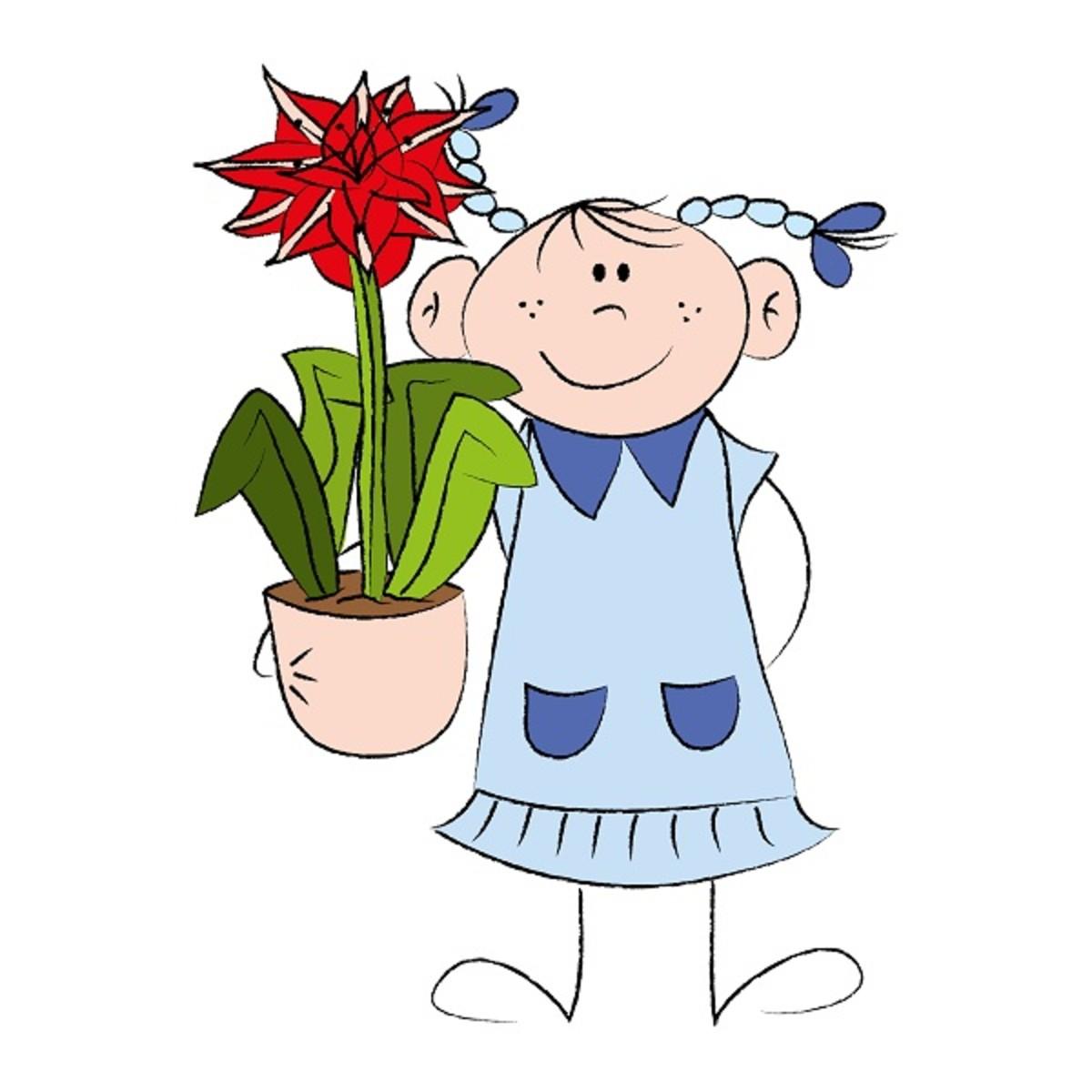 Girl with Flowering Amaryllis Bulb