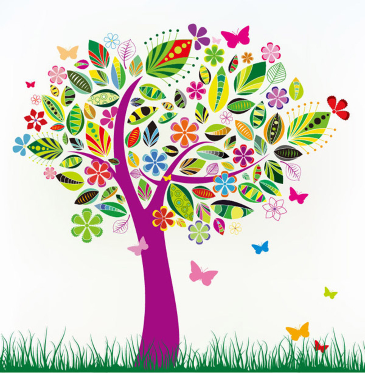 Tree with New Spring Leaves, Blossoms and Butterflies