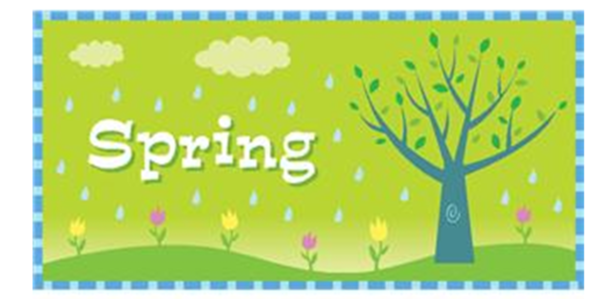 Spring with Tree, Flowers and Rain