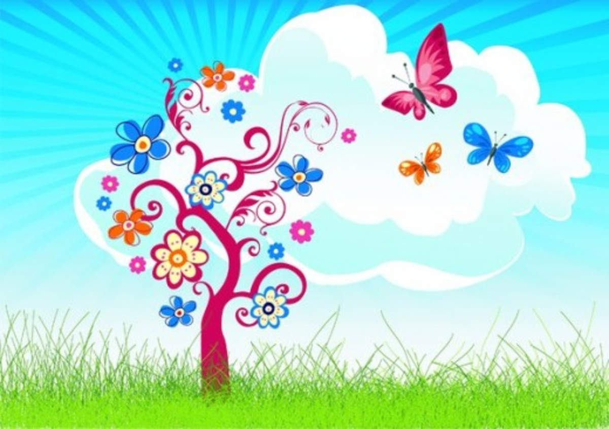 Spring Blossoming Tree with Butterflies