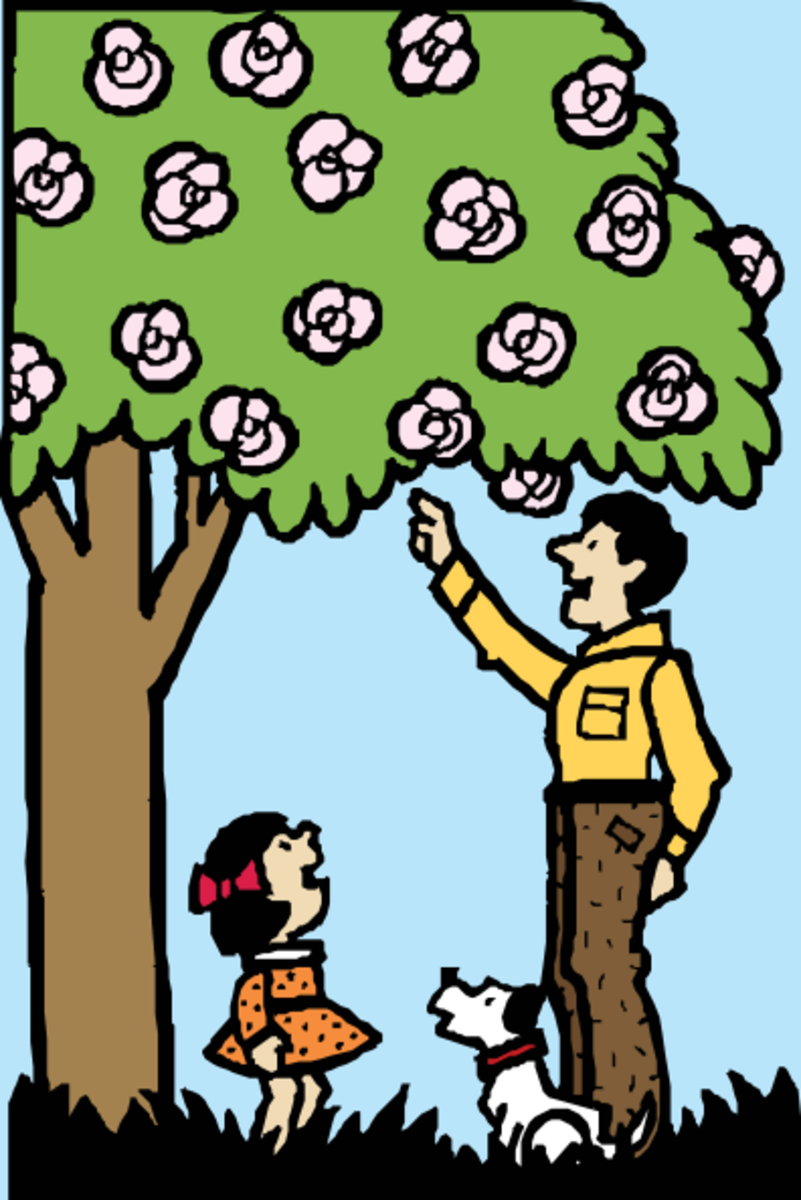 Father, Daughter and Puppy with Blossoming Tree
