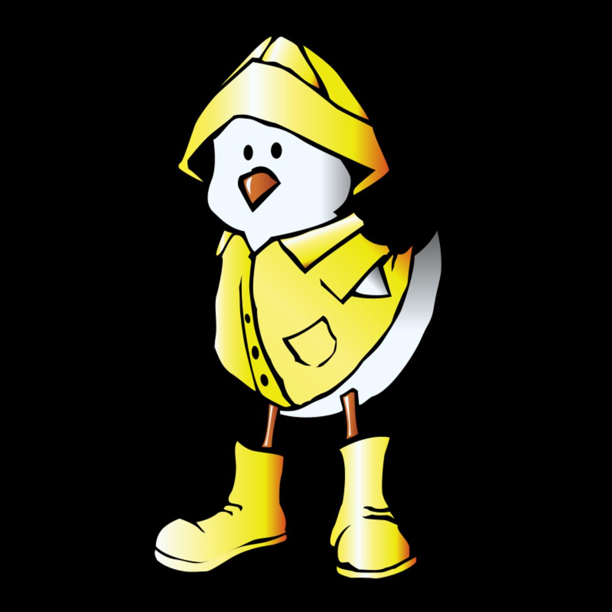 Cartoon Duck in a Raincoat