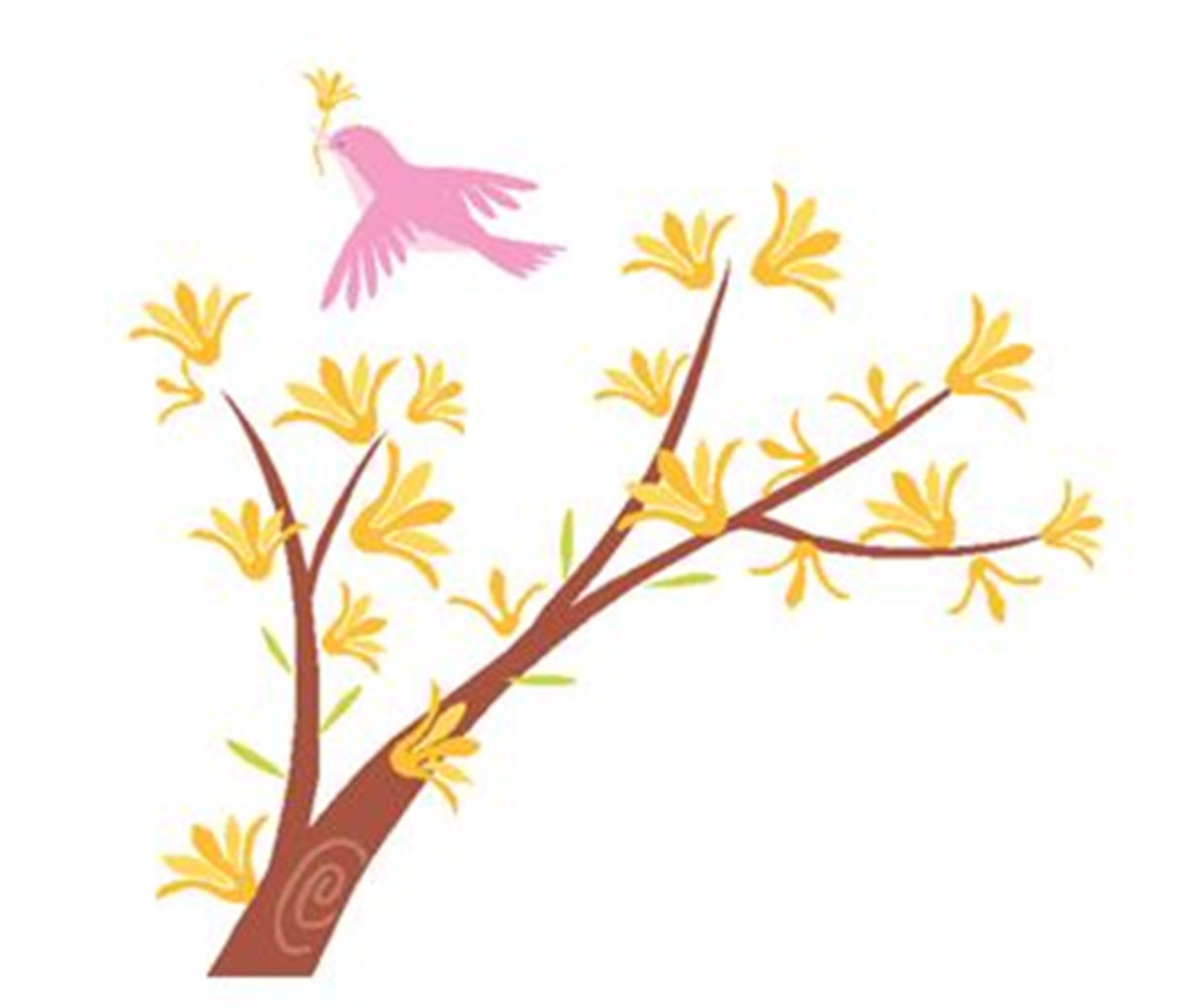 Bird Picking Flower from a Tree