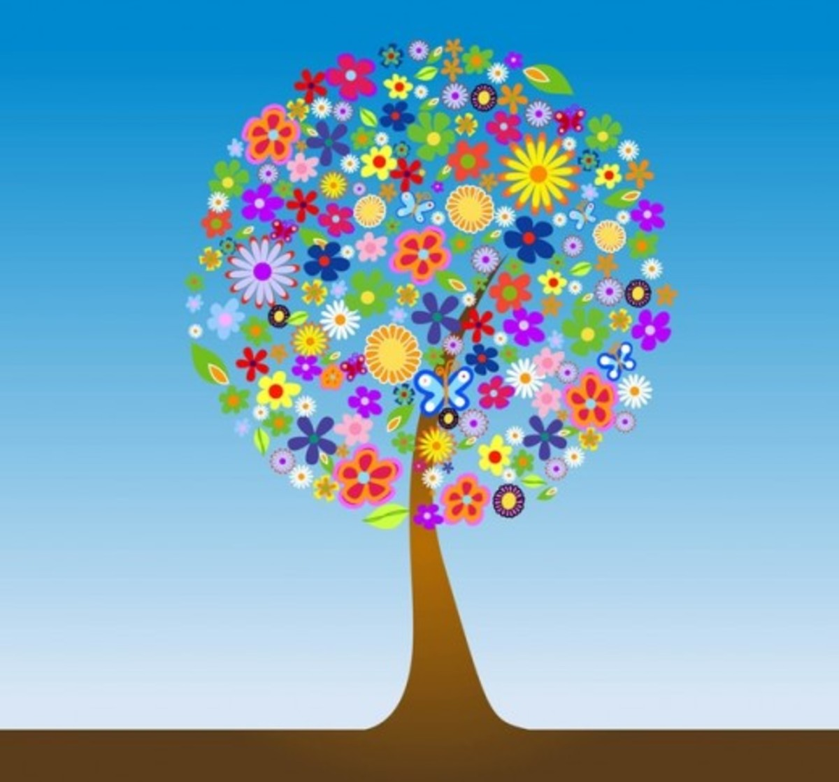 Clip Art Tree Made of Flowers and Butterflies
