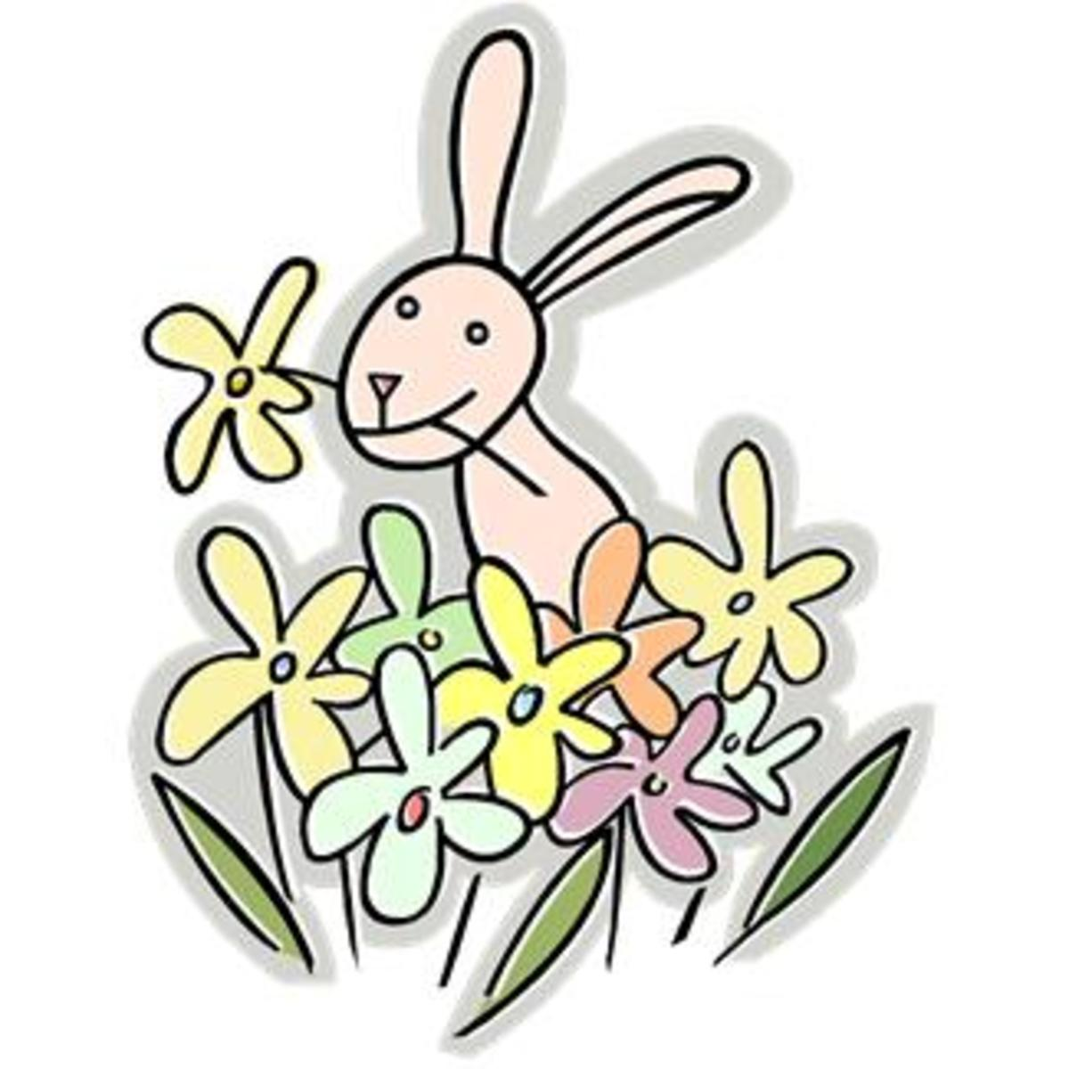 Bunny with Spring Flowers