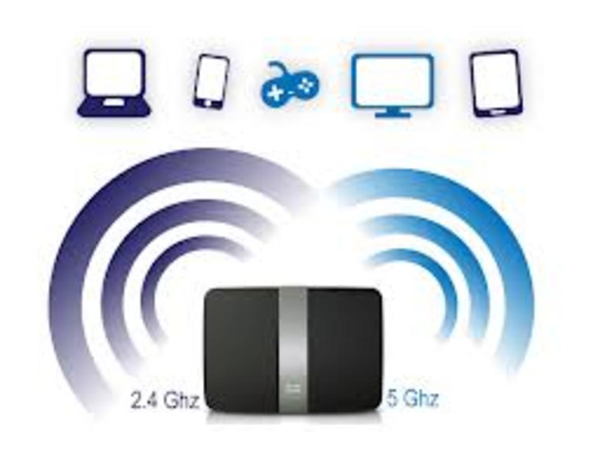 Dual band wireless router has a 2.4 GHz and 5 Ghz bandwidth