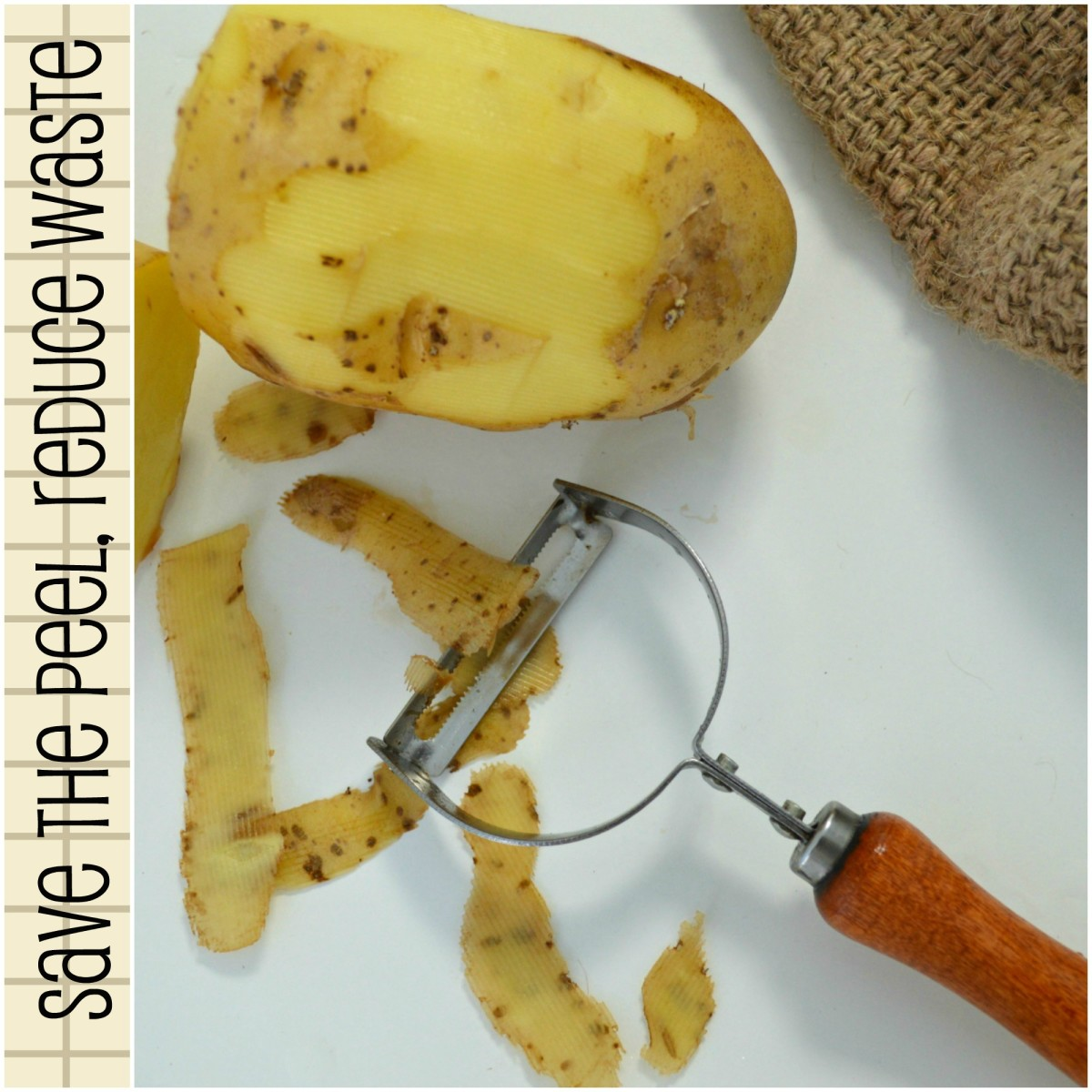 Peel potatoes with a knife or peeler, but whichever way, make sure you recycle them instead of tossing them into the bin!