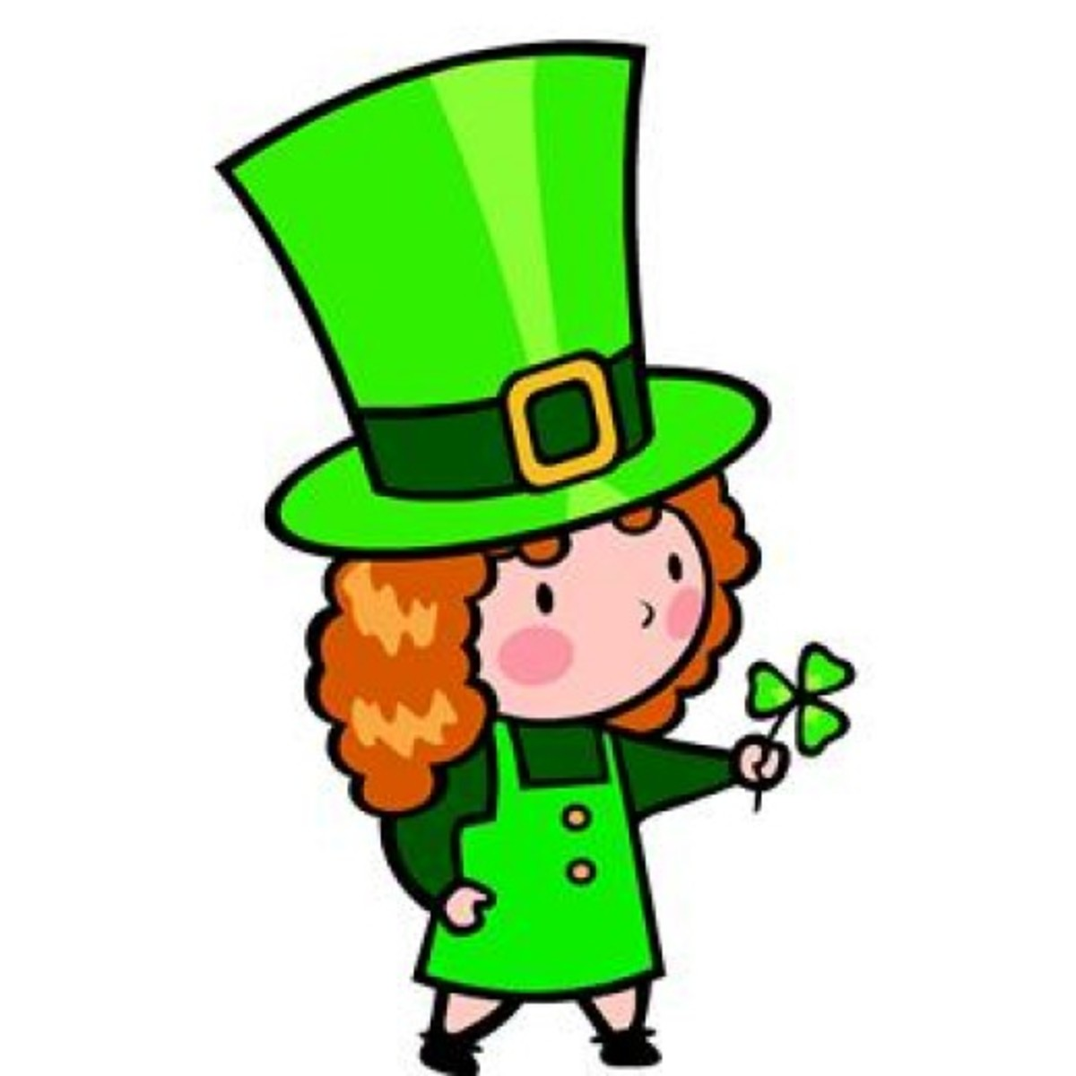Irish Girl Holding Shamrock