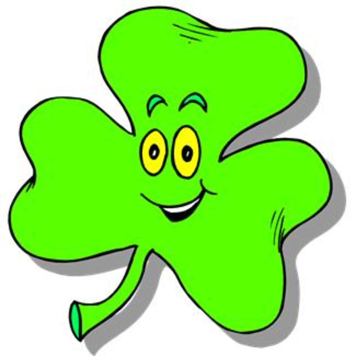 Happy Face Shamrock Cartoon