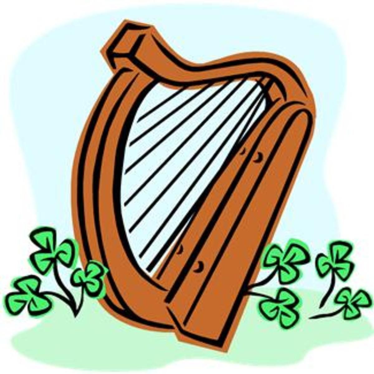 Irish Harp with Shamrocks