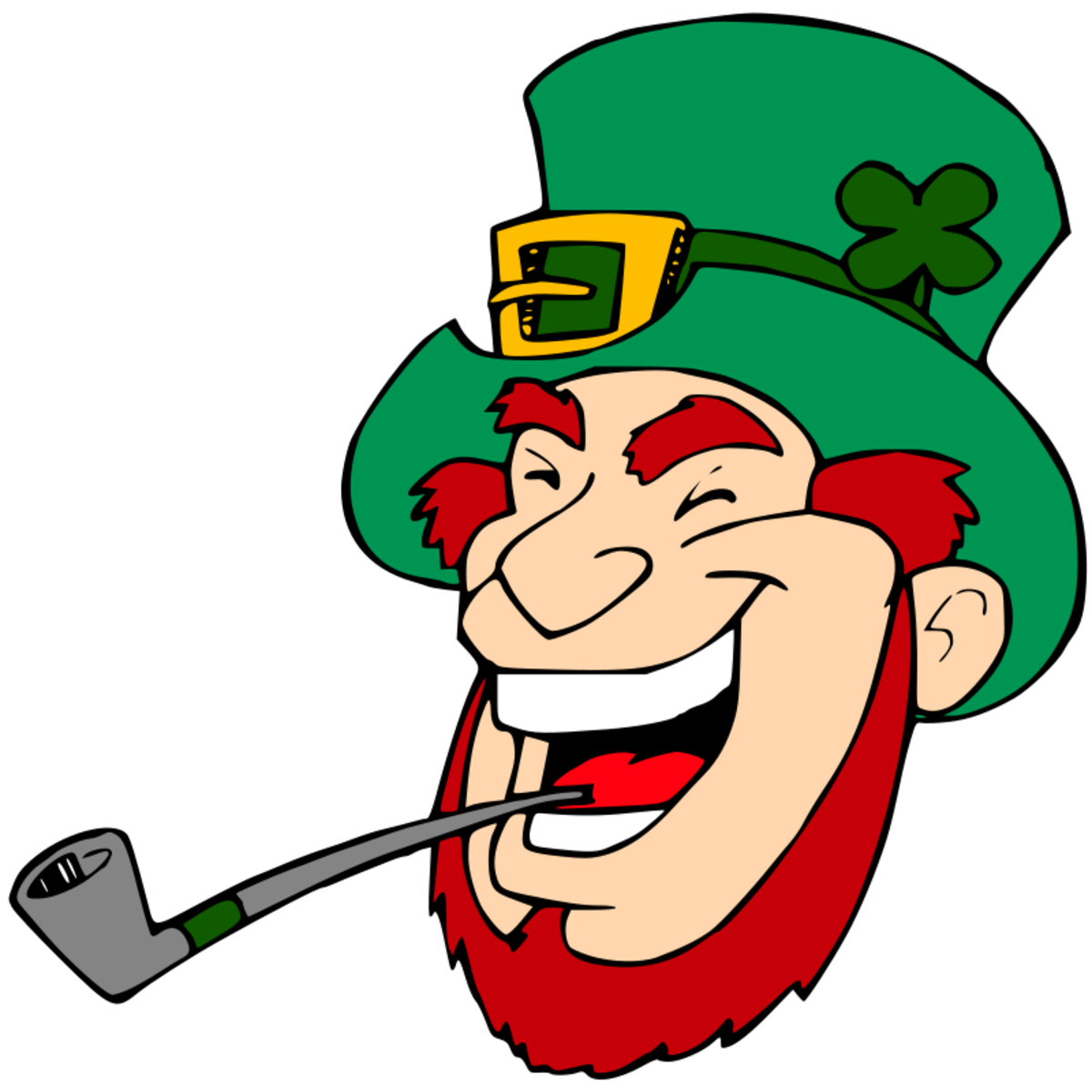 Laughing Leprechaun with Red Beard Smoking a Pipe