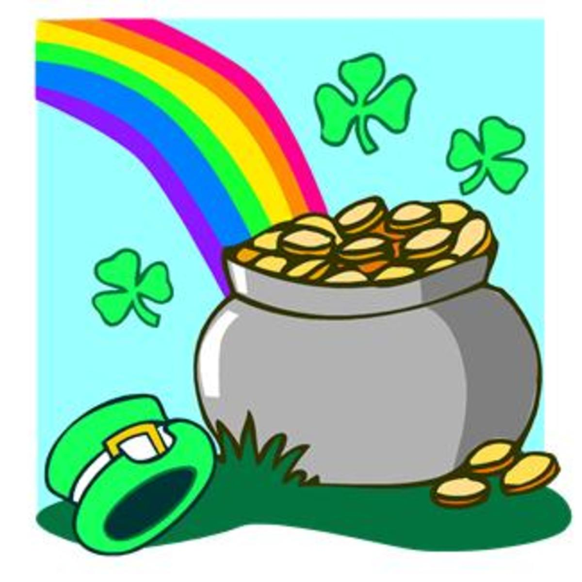 Pot of Gold, Rainbow and Shamrocks