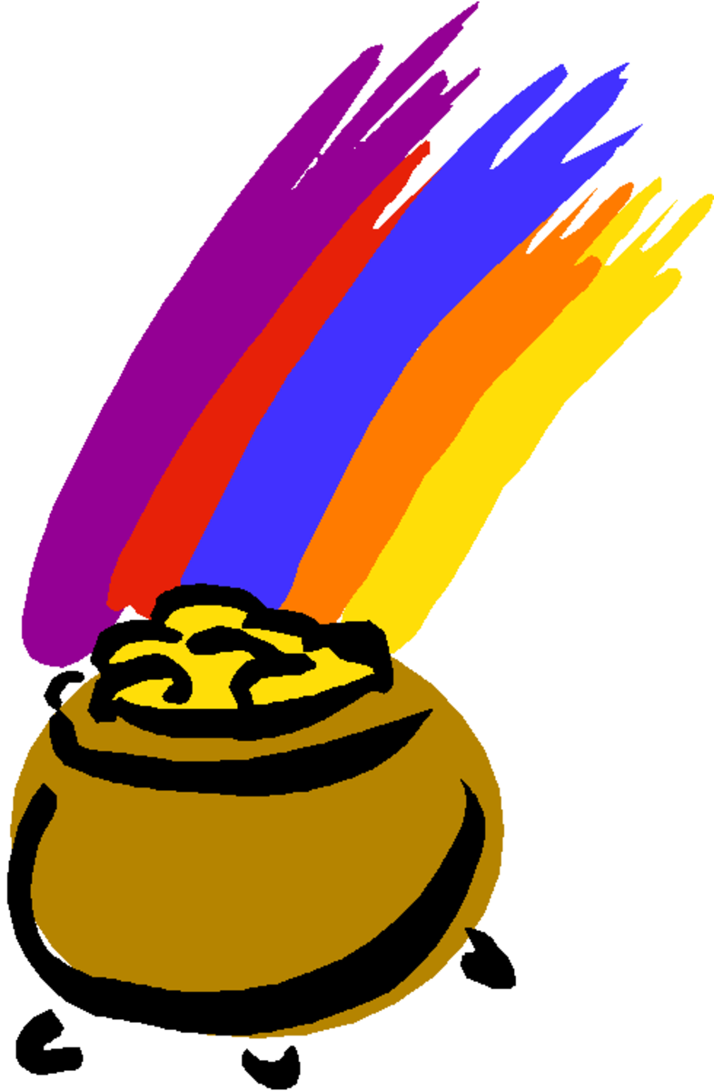 Rainbow and Brown Pot of Gold Clip Art