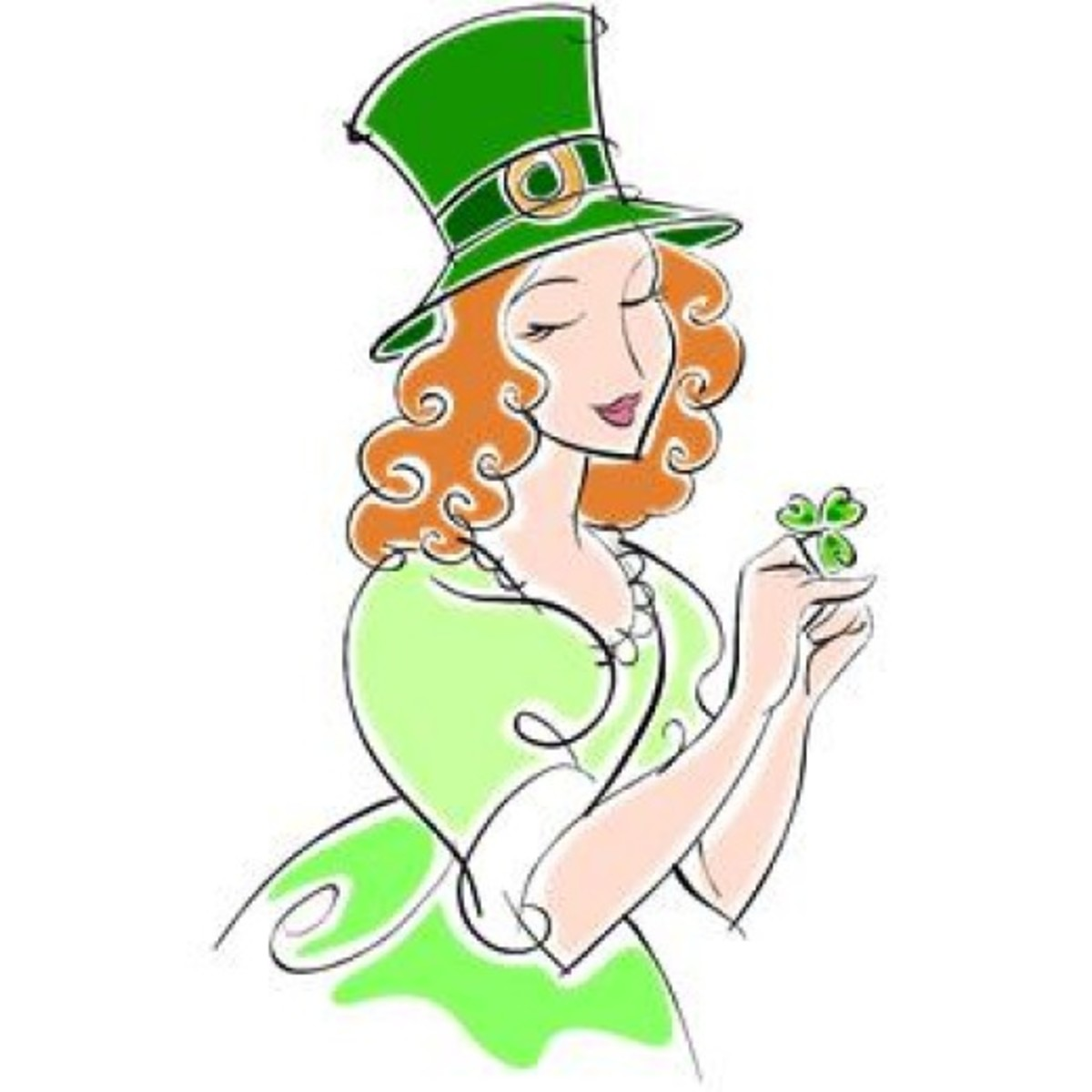 Irish Lady with Shamrock