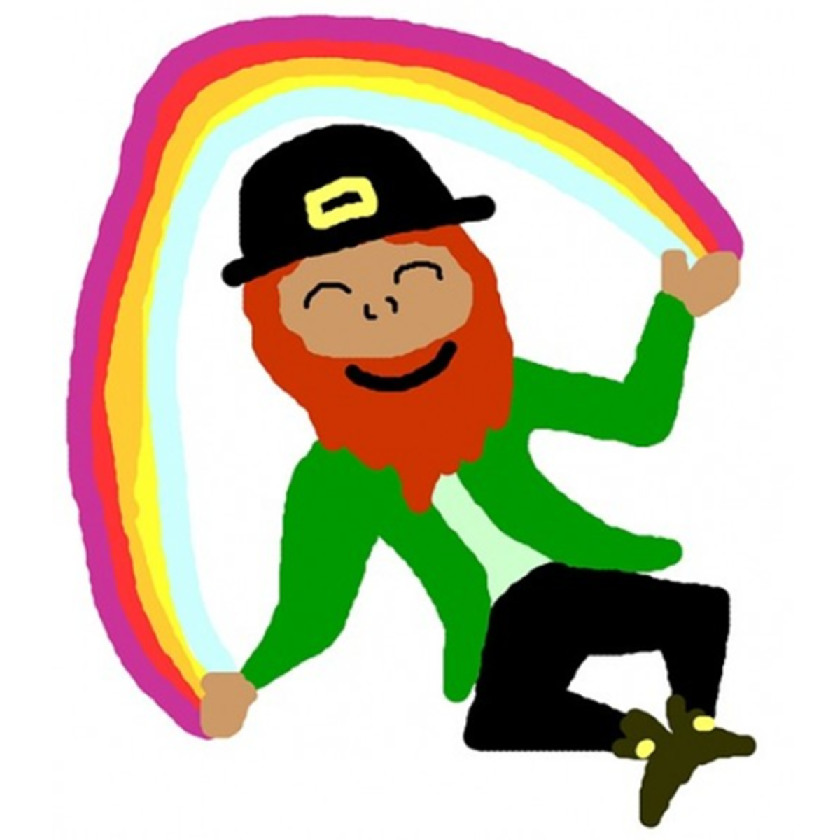 Leprechaun Dancing the Irish Jig with a Rainbow