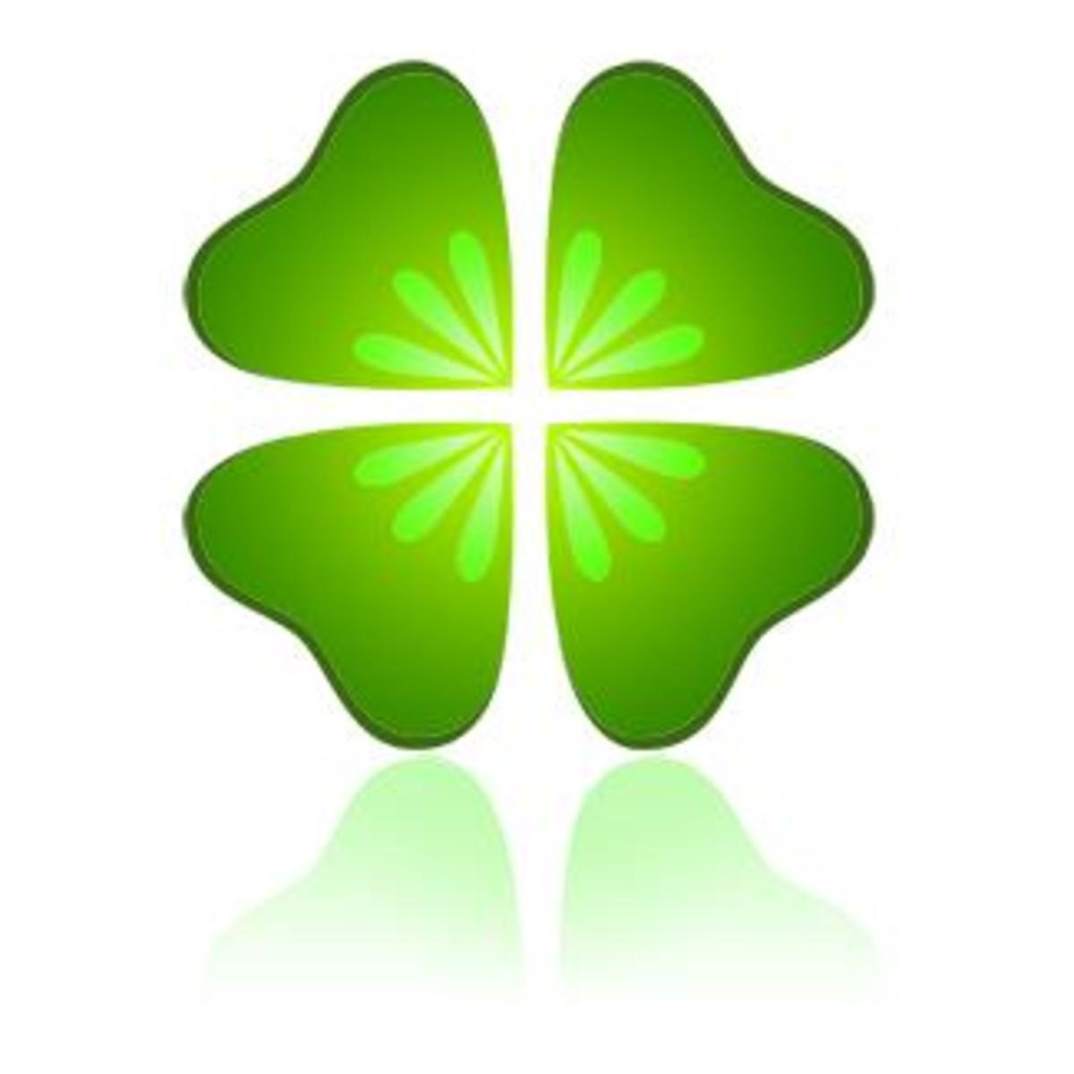 Four-Leaf Clover with Reflection