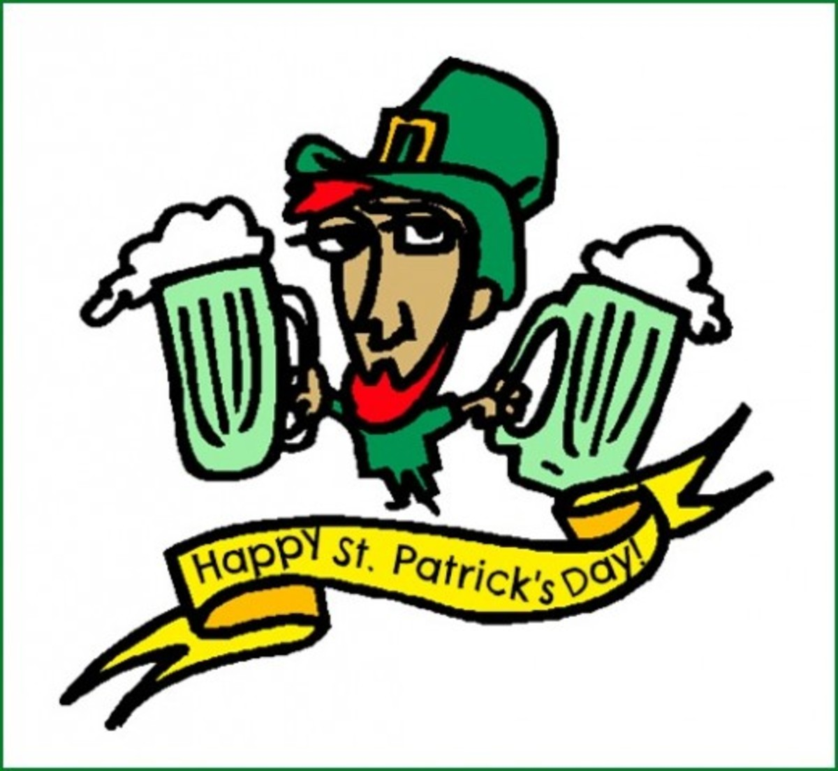 'Happy St. Patrick's Day' with Leprechaun Holding Two Beers