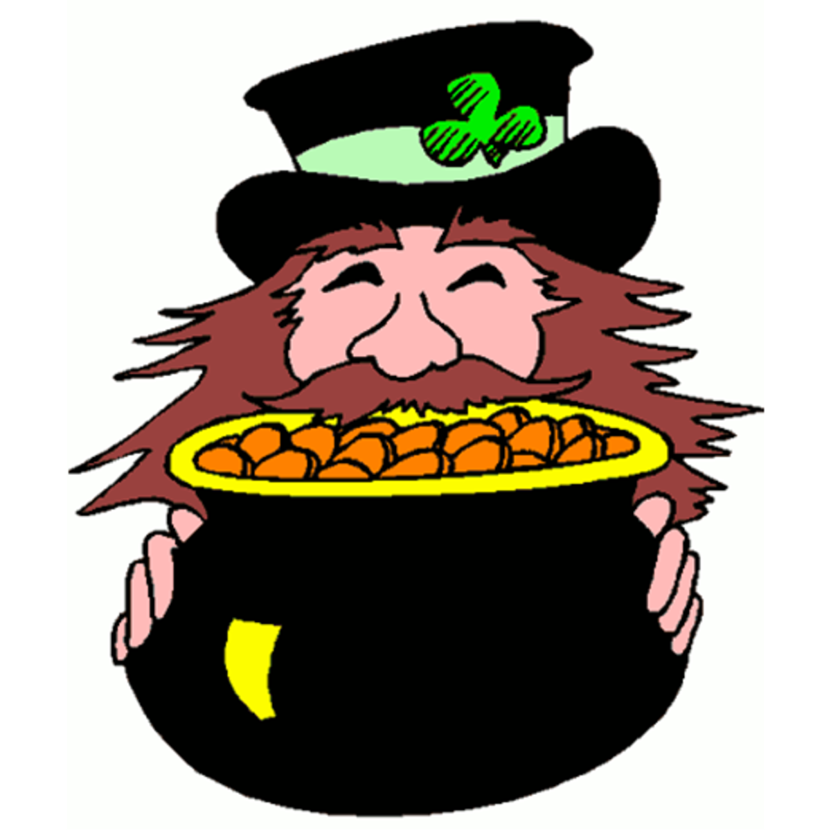 Happy Leprechaun with Pot of Gold