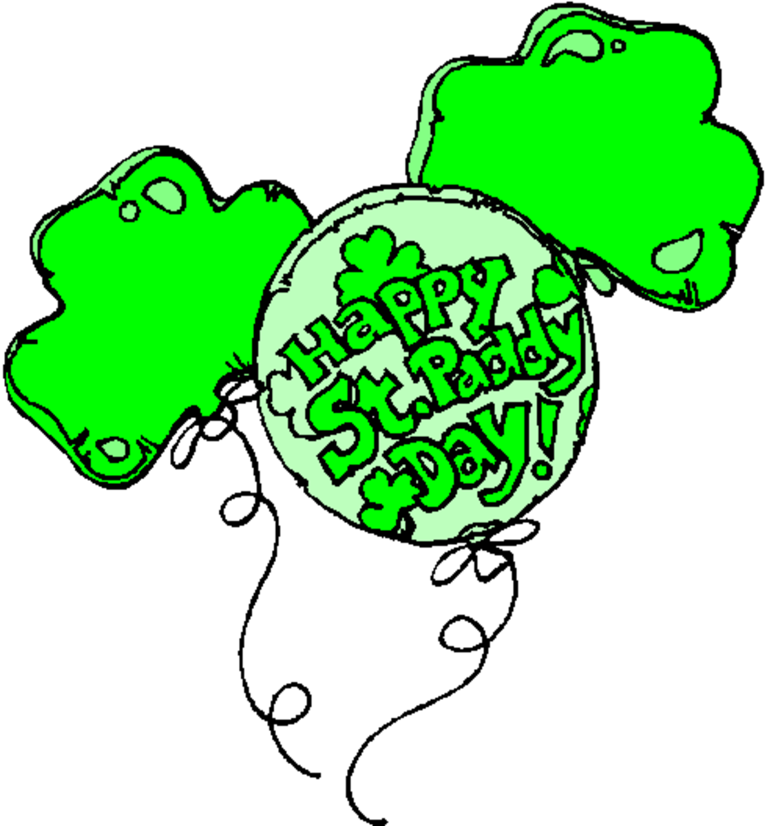 'Happy St. Paddy's Day' on Shamrock Balloons