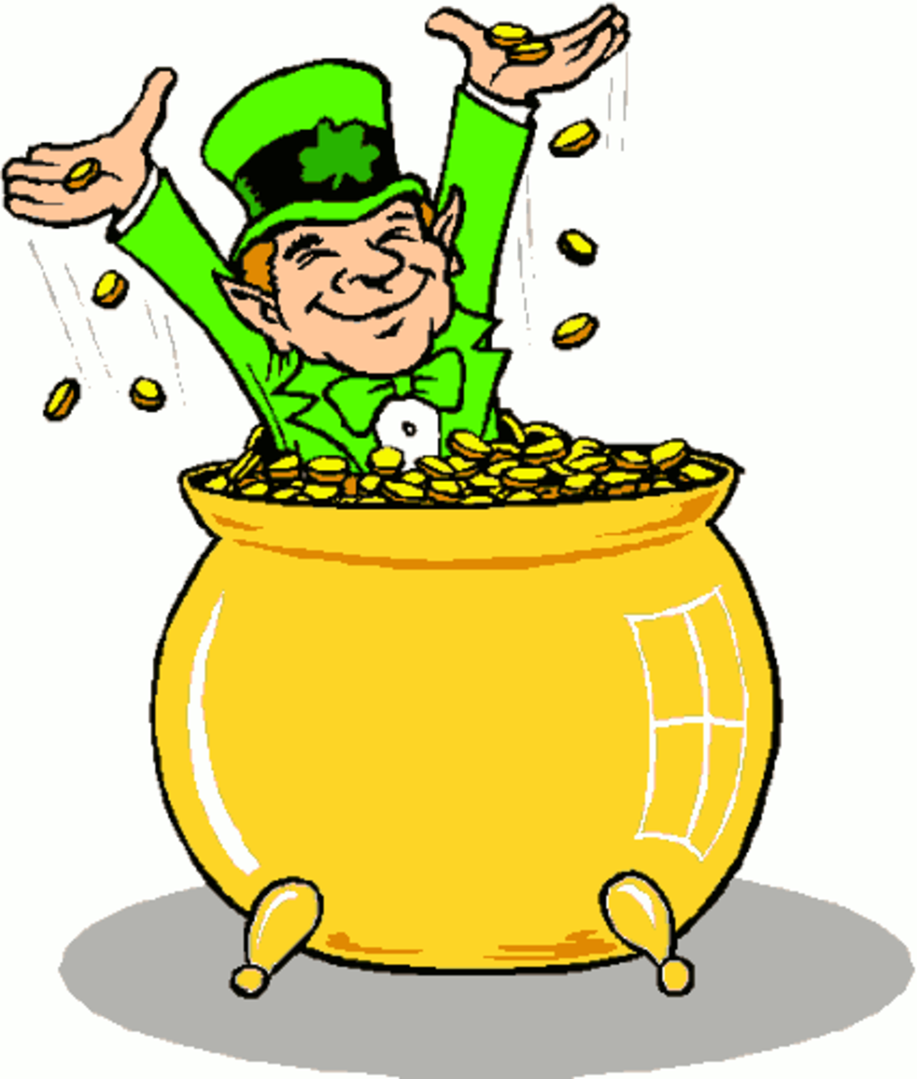 Smiling Leprechaun inside of Pot of Gold