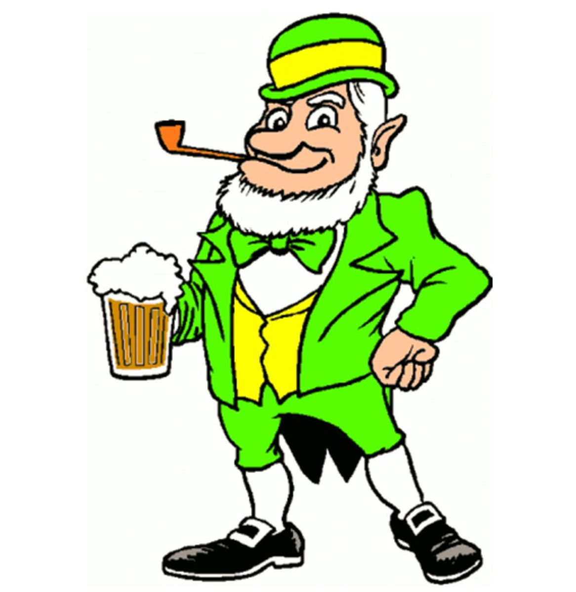Leprechaun Drinking Beer and Smoking Pipe