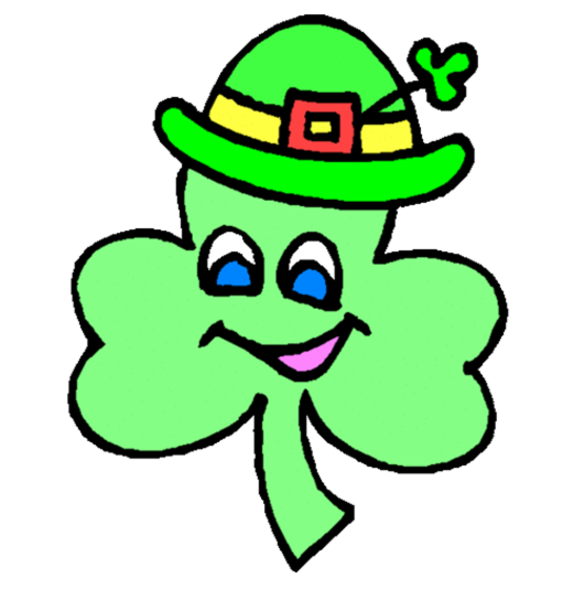 Happy Cartoon Shamrock with Blue Eyes
