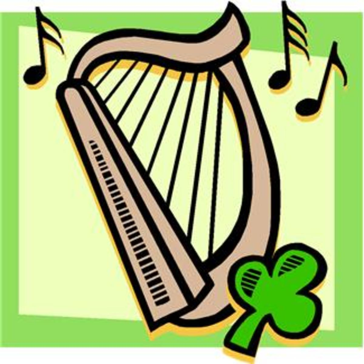 Harp with Shamrock and Music Notes