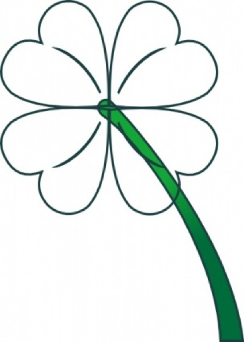 Lucky Four-Leaf Clover Outline