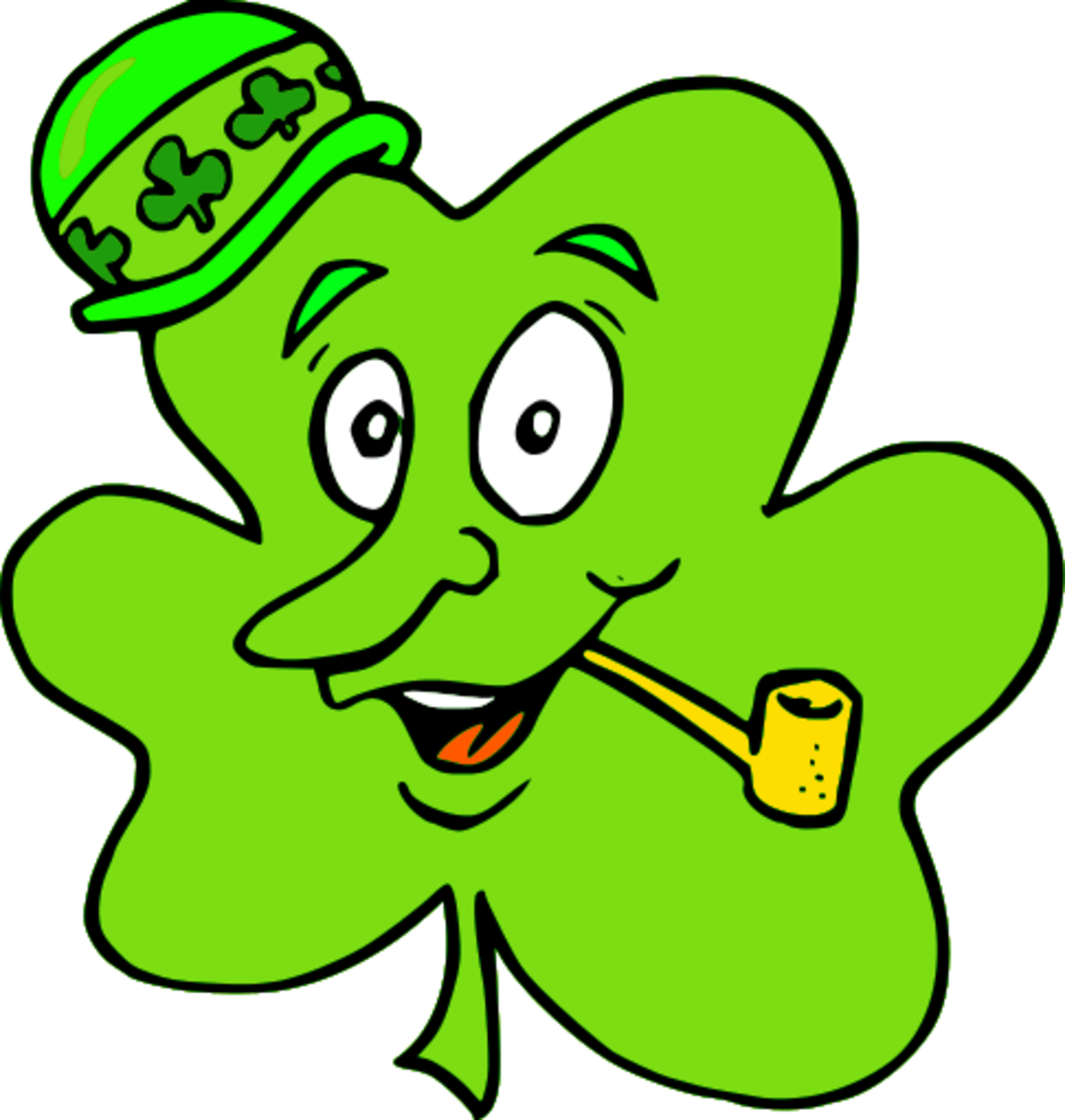 Cartoon Shamrock with Hat and Pipe