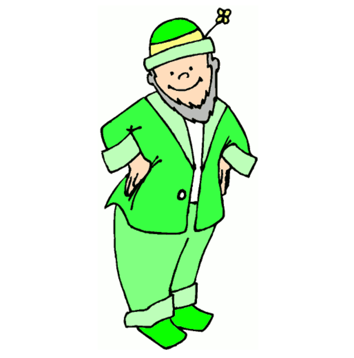 Leprechaun with Grey Beard and Green Suit