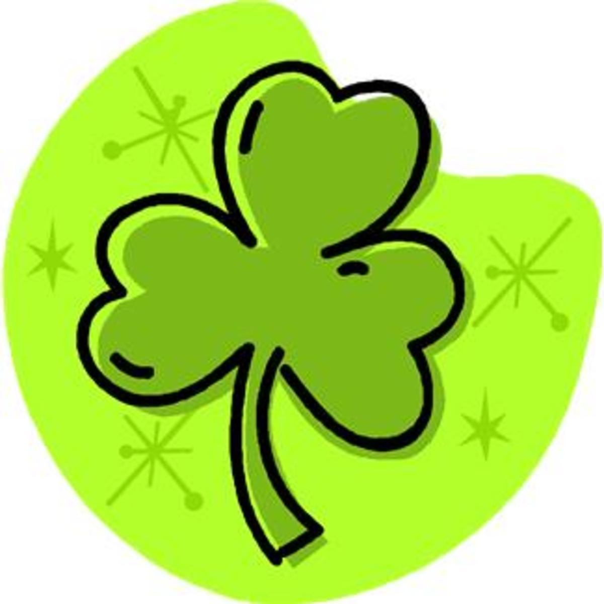Shamrock with Green Background and Stars