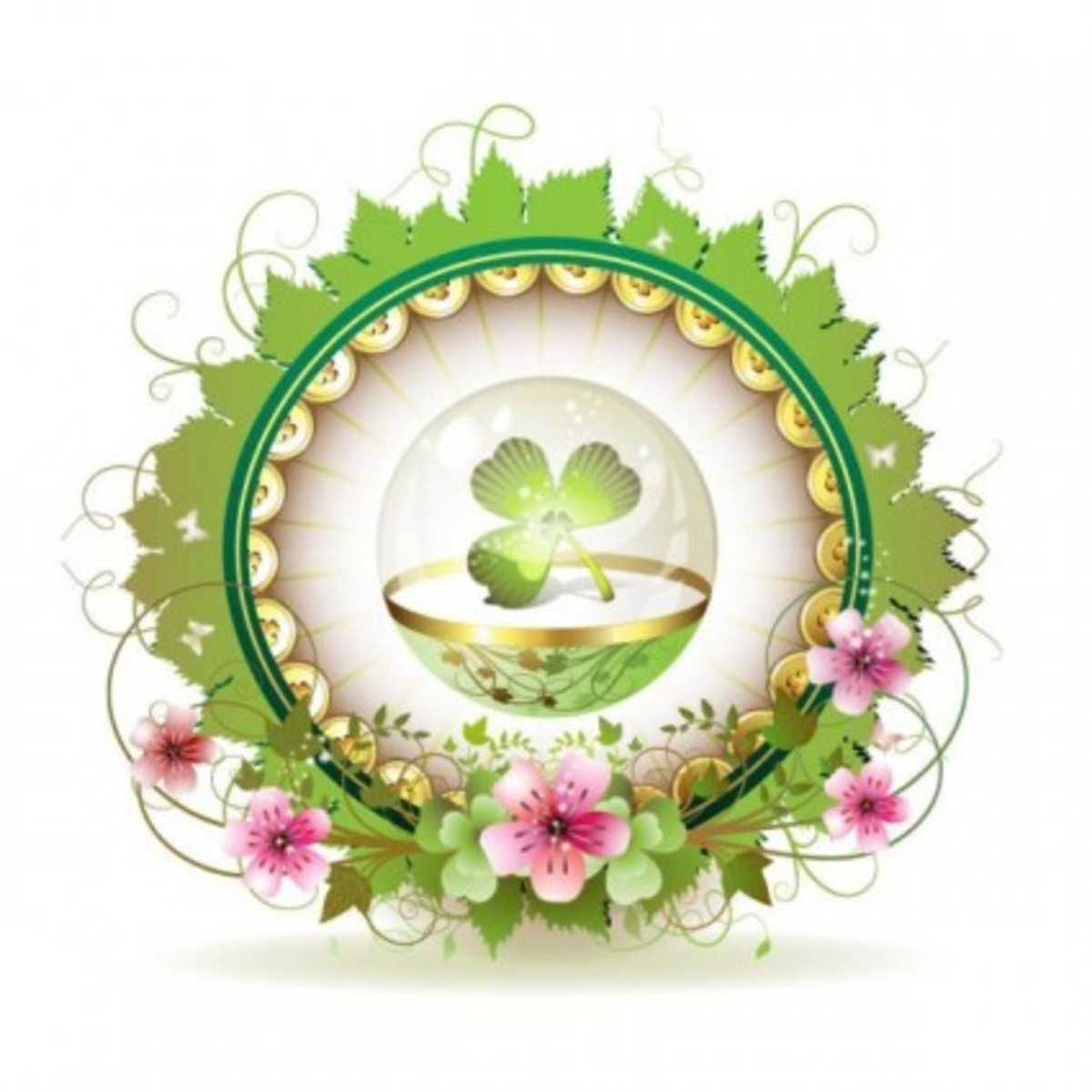 Shamrock in Glass Egg