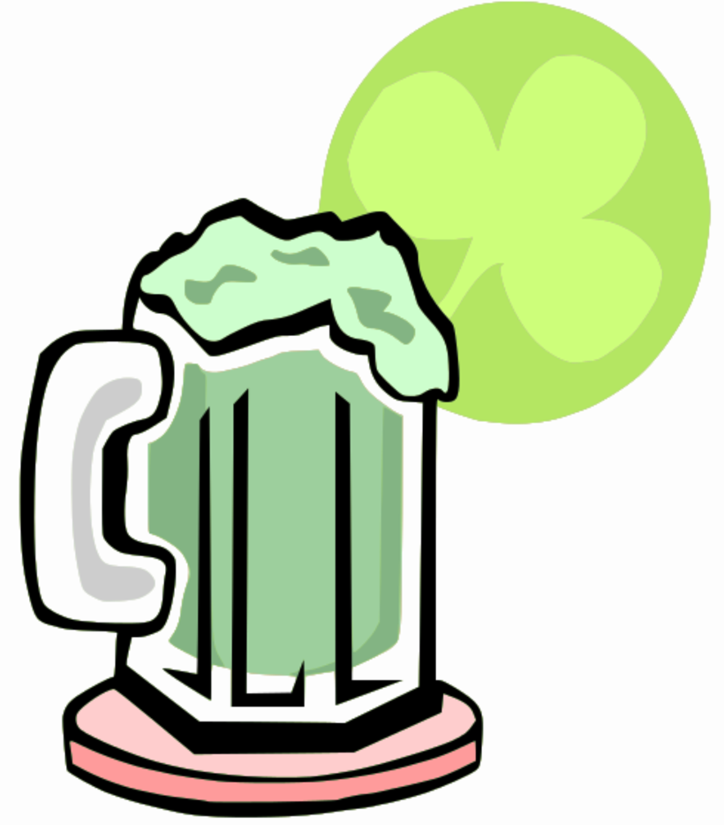 Green Foaming Beer and Shamrock