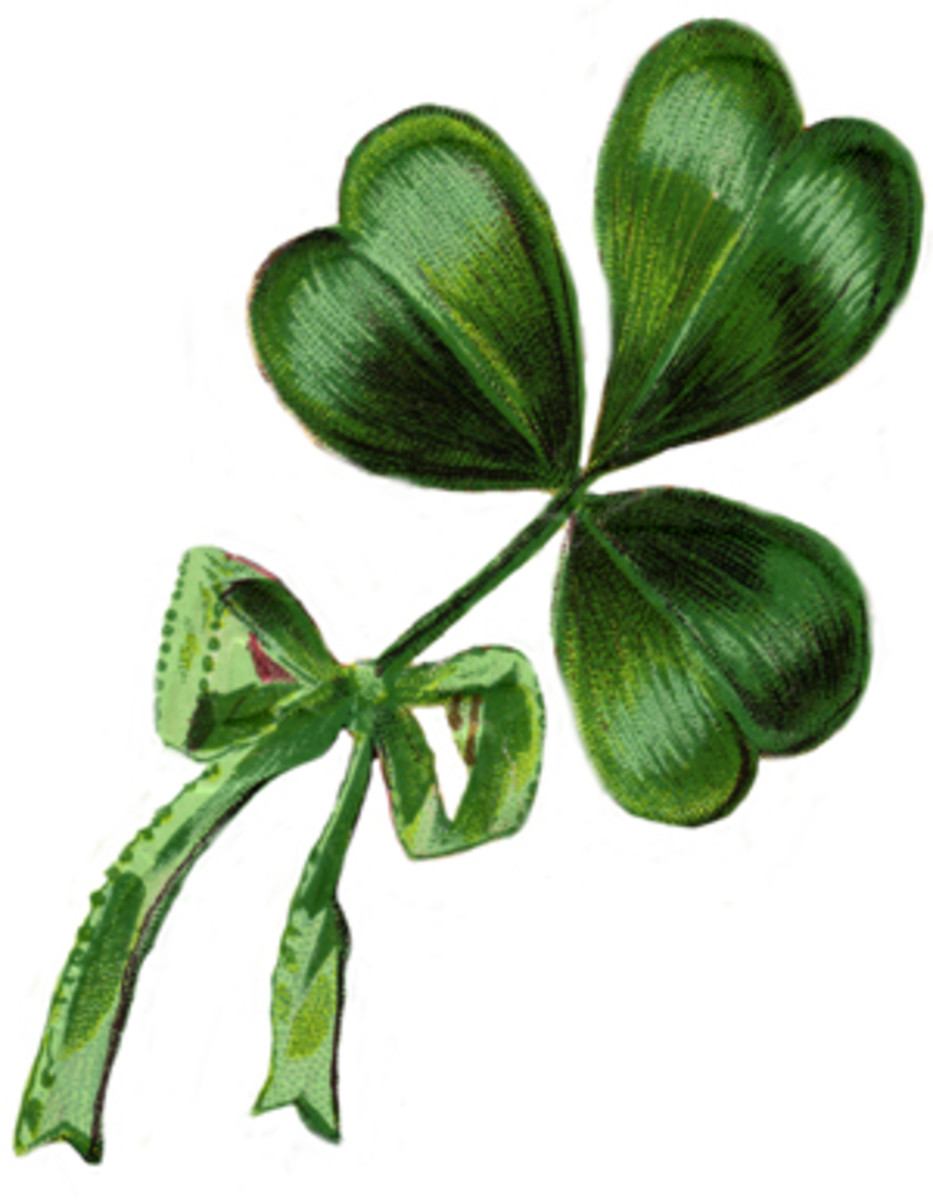 Shamrock with Green Ribbon Bow