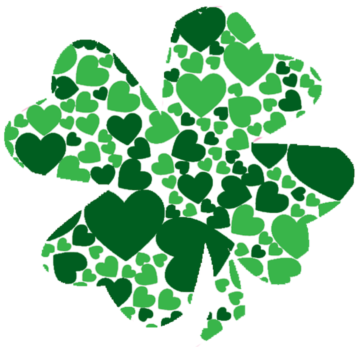 Four-Leaf Shamrock Made of Hearts