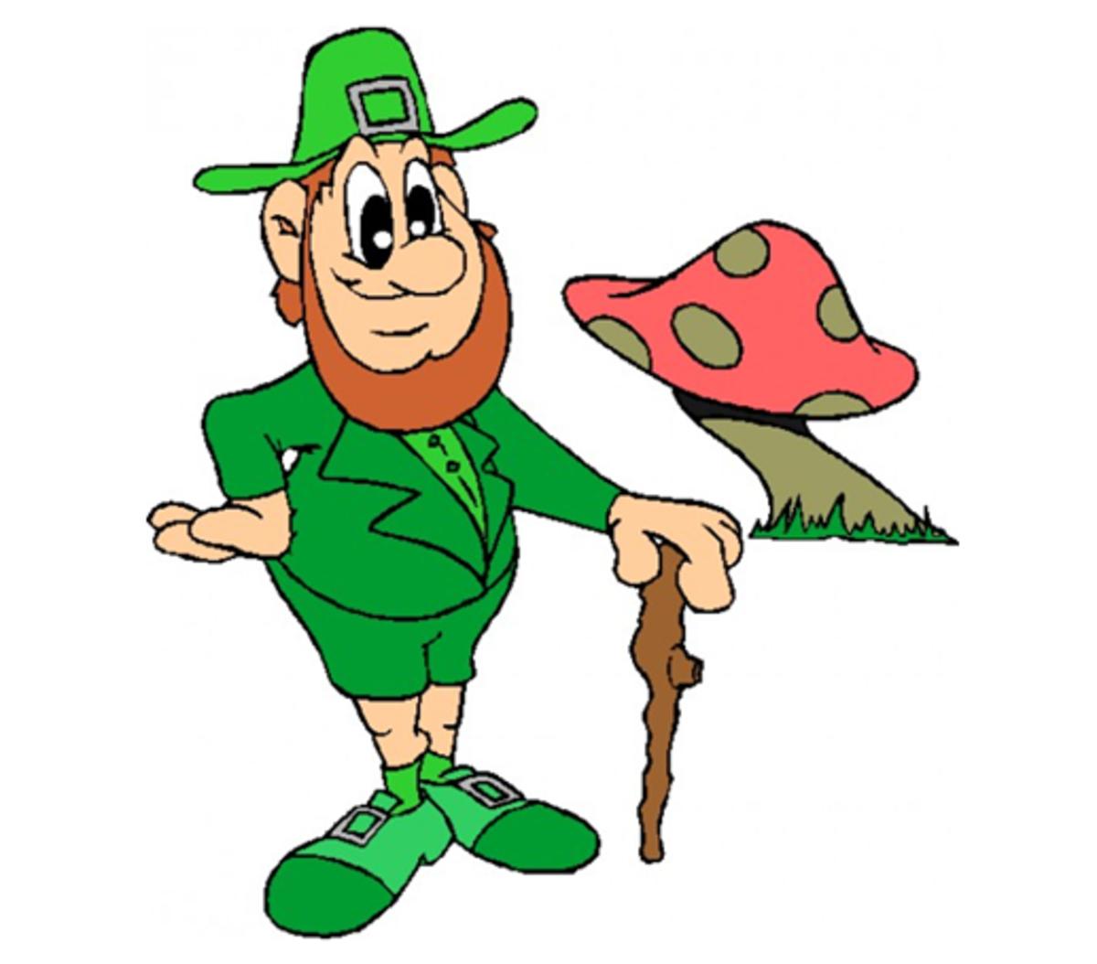 Leprechaun Standing Next to a Mushroom