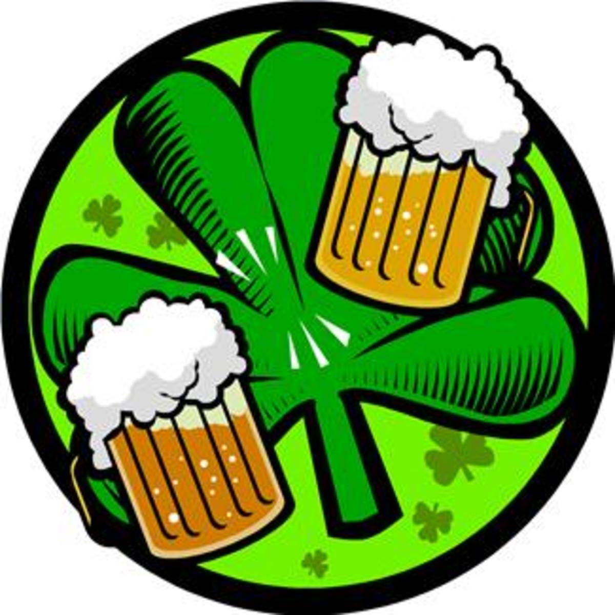 St. Patrick's Day Image with Foaming Beer and Shamrock