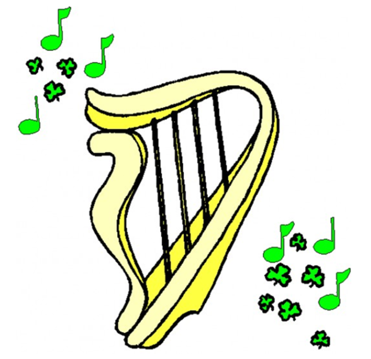 Golden Harp with Green Musical Notes and Shamrocks
