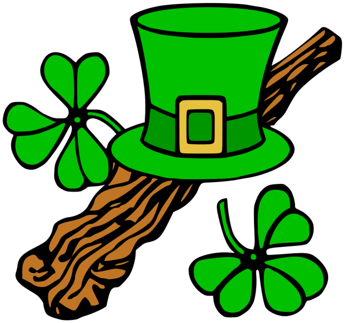 Leprechaun Hat, Shillelagh and Shamrocks