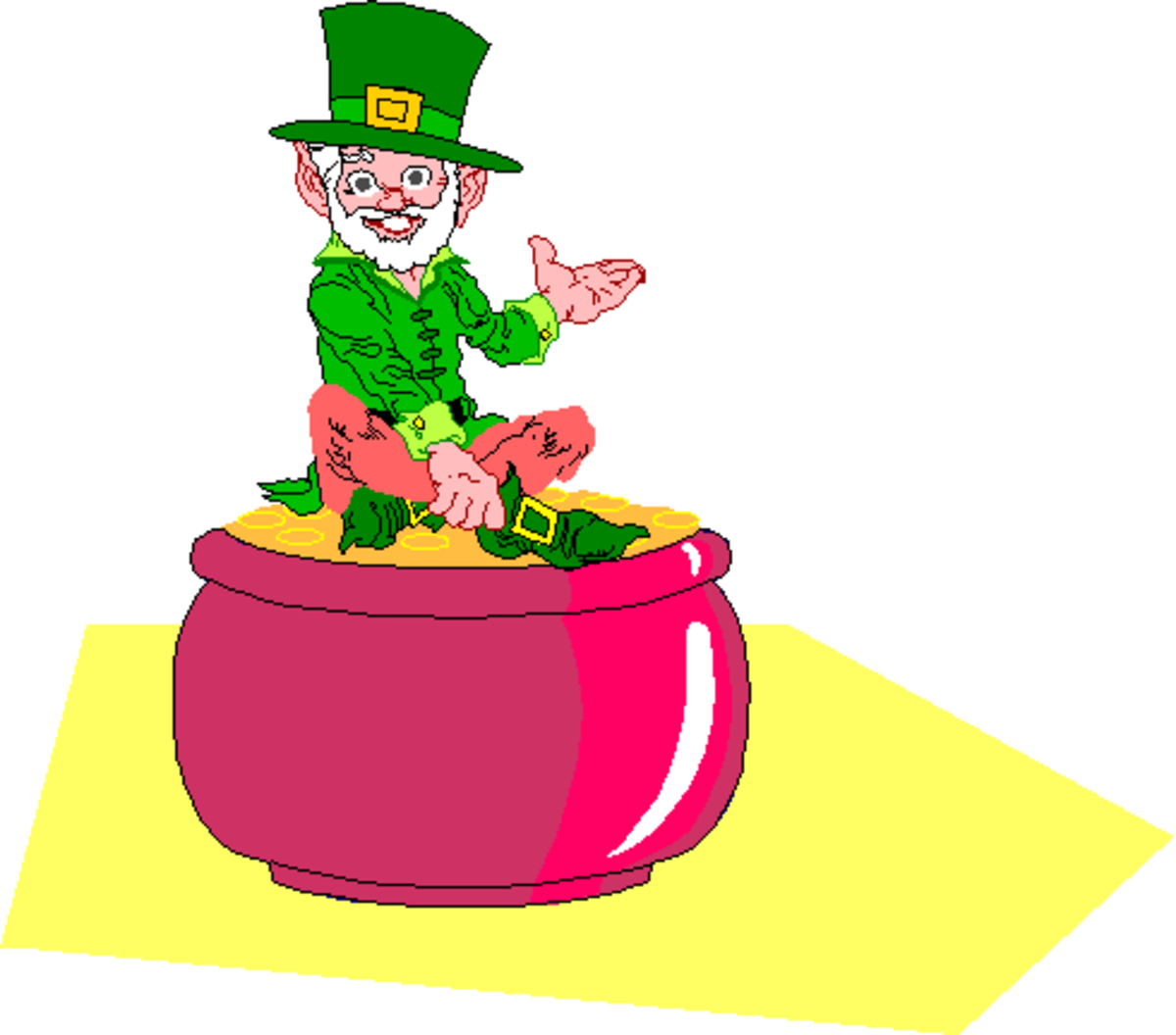 Leprechaun Sitting in Red Pot of Gold