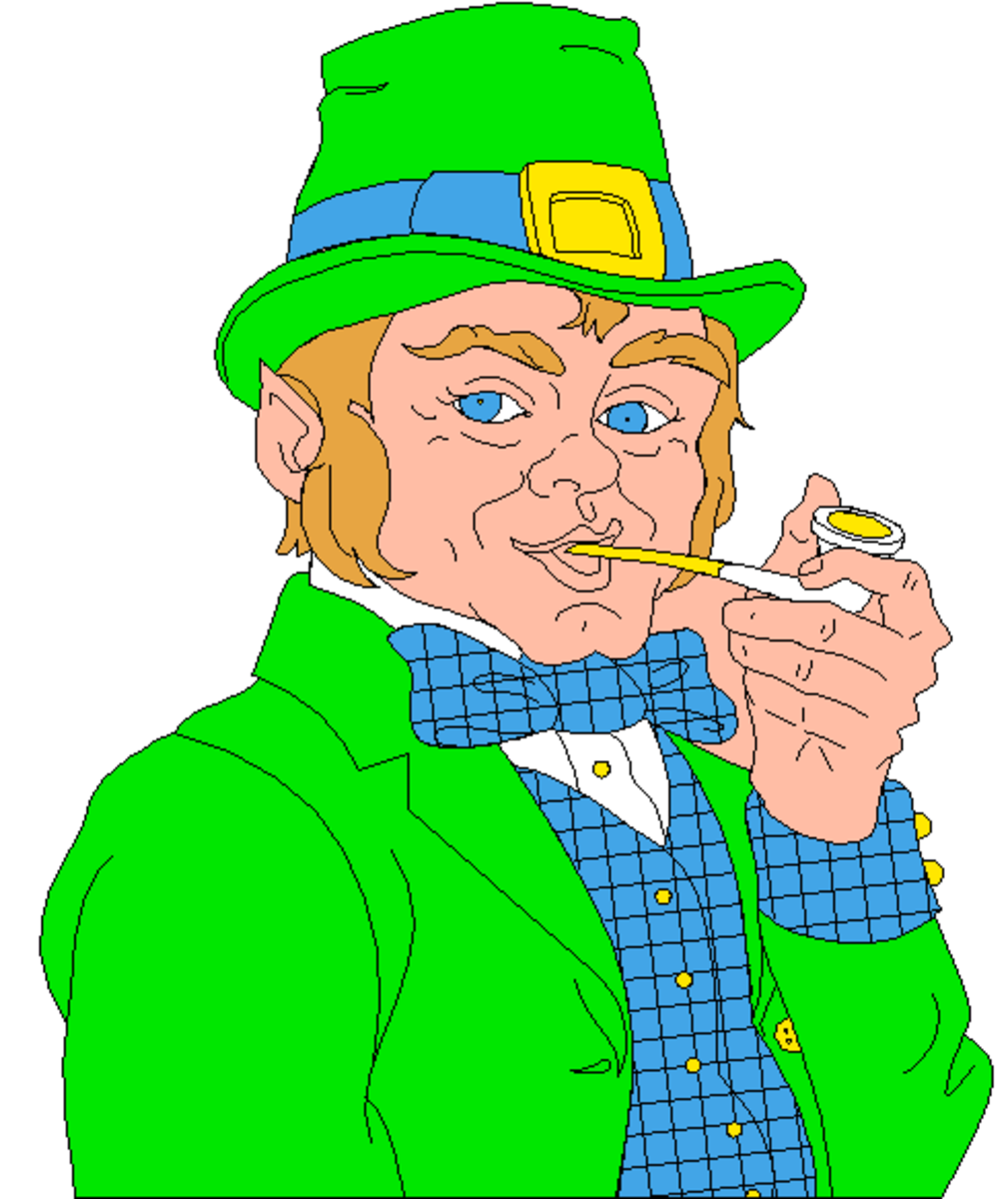 Leprechaun in Green Suit Smoking a Pipe