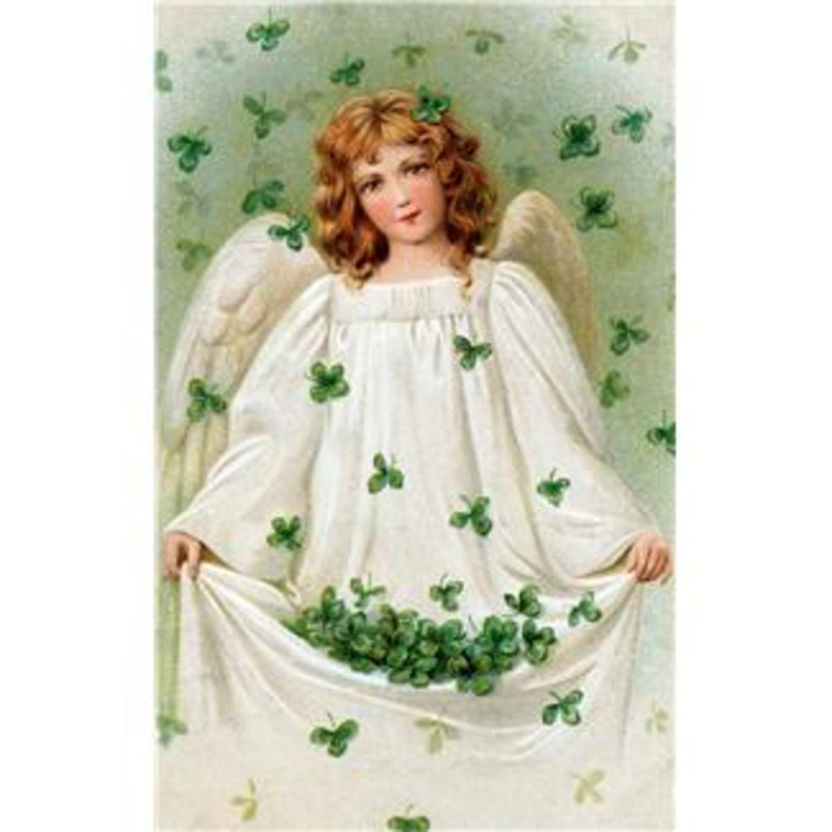 Angel Fairy Collecting Shamrocks