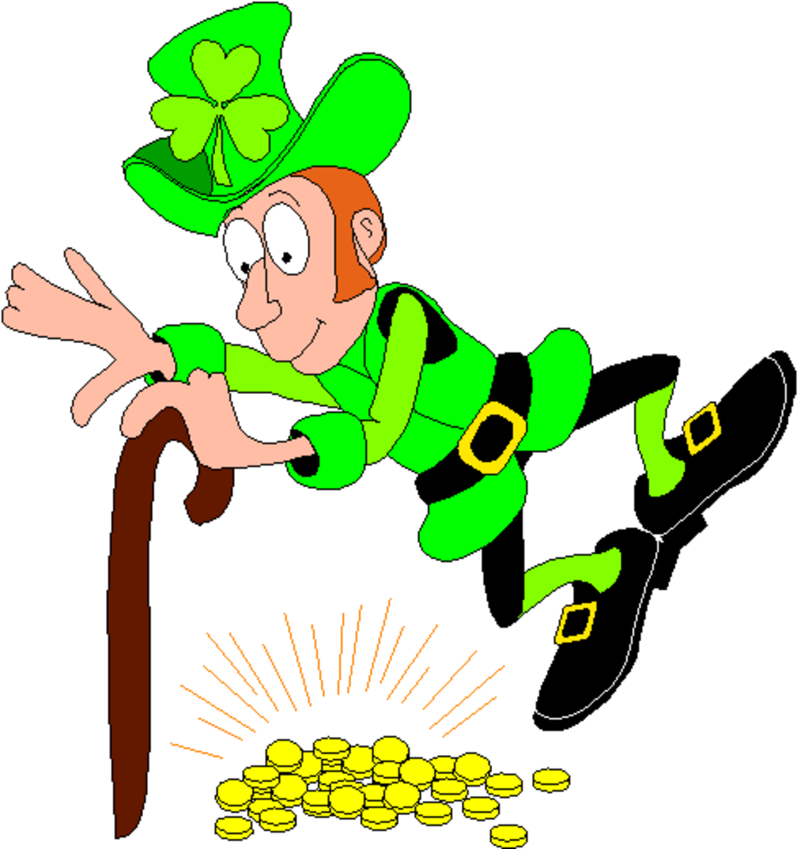 Leprechaun Dancing over His Gold